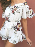 Summer Floral Off Shoulder Mini Jumpsuit - WealFeel