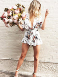 White Summer Floral Printed V-neck Romper - WealFeel