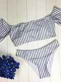 So Cool Off The Shoulder Striped Bikini Set - WealFeel