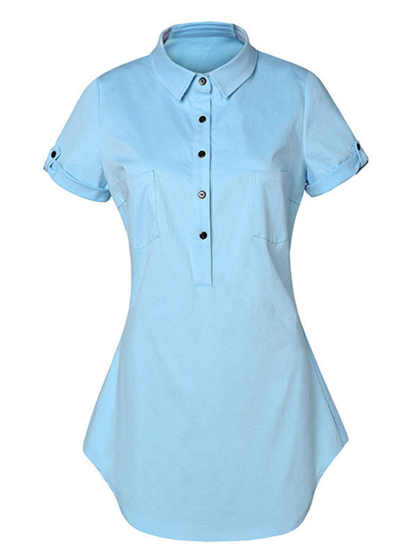 Casual Short Sleeves Pocket Denim Shirt Dress - WealFeel