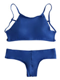 Solid Color High Neck Tank Bikini Sets - WealFeel