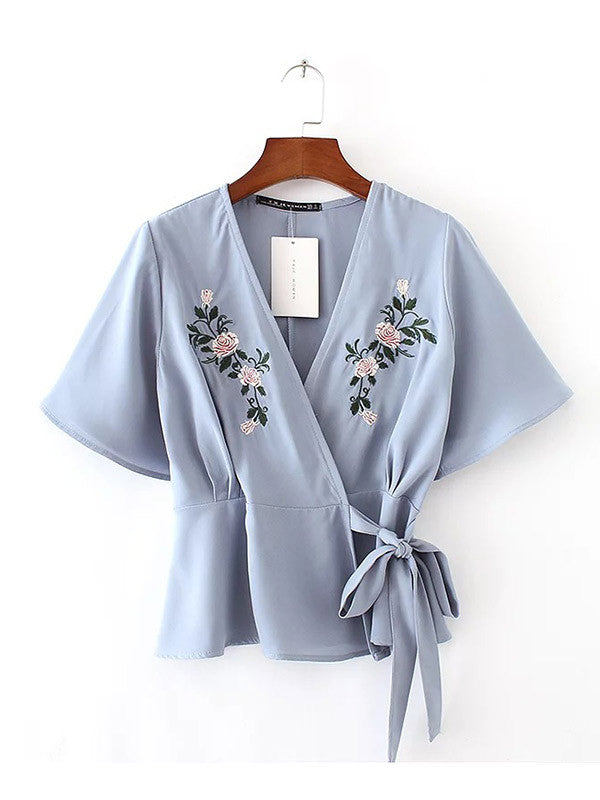 Embroidery Kimono Cross Colpus Lace-up Shirt - WealFeel
