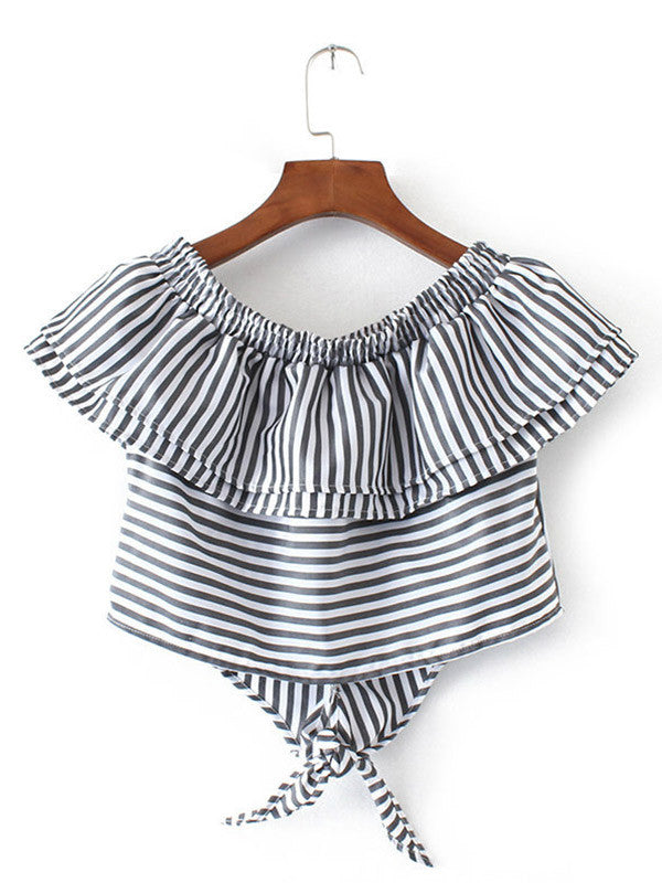 Stripes Print Knotted Front Ruffled Top - WealFeel