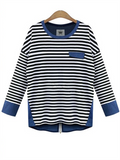 Long-sleeved Denim stitching Striped T-shirt - WealFeel