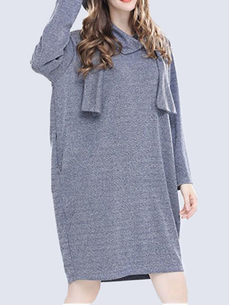 You Got Me Casual Loose Dress With Scarf - WealFeel