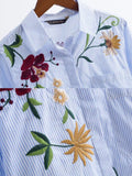 WealFeel Life Is A Flower Striped Embroidered Shirt - WealFeel