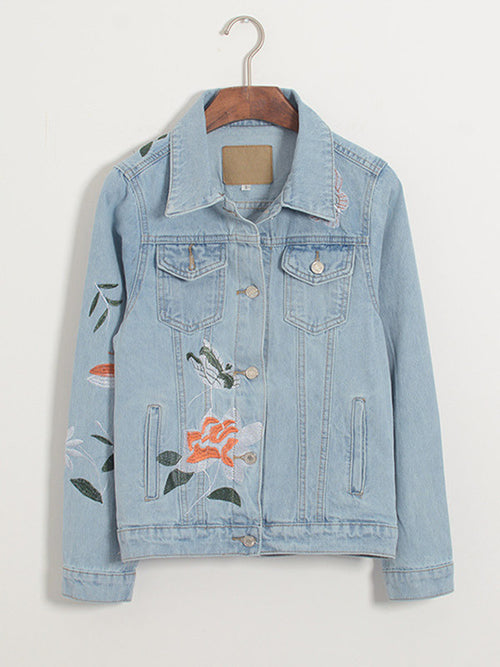 Vintage Embroidered Denim Jean Jacket - WealFeel