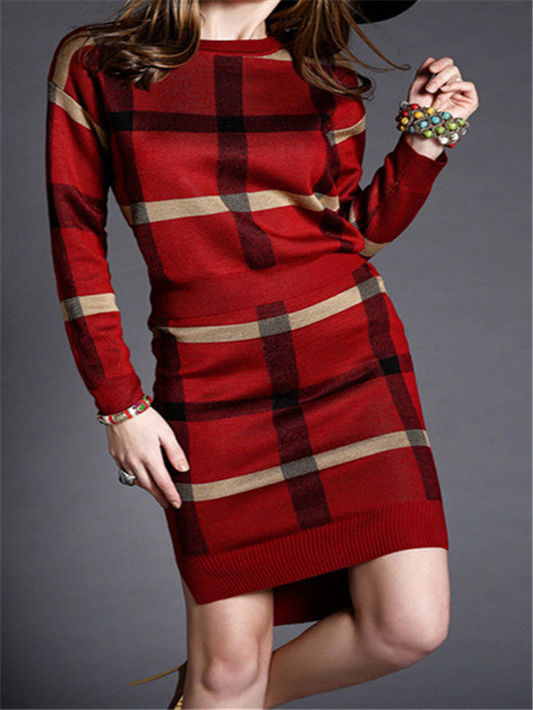 WealFeel Elegant Lady Plaid Package Hip Skirt Suit - WealFeel