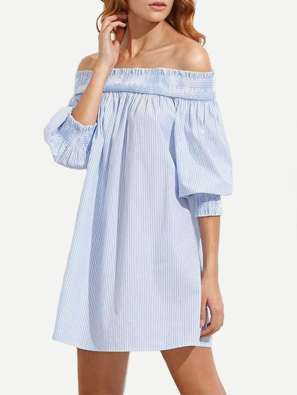 Women Stripe Off Shoulder Tie-Dye Mini Dress - WealFeel