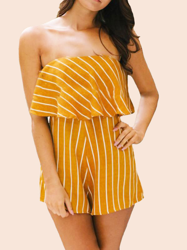 Women Off Shoulder Striped Beach Shorts Jumpsuit - WealFeel