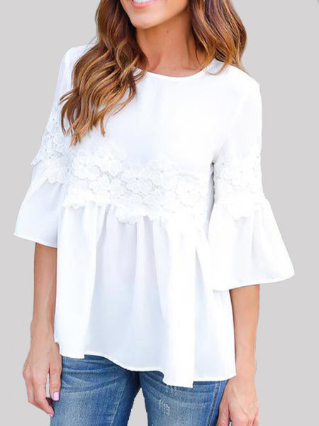 Stitching Lace Ruffle Sleeve Top - WealFeel