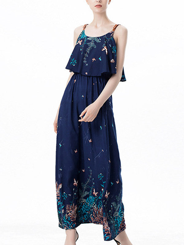 Women's Ruffle Floral Maxi Dress - WealFeel