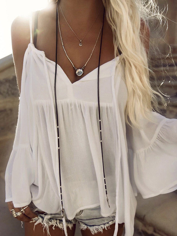 Sexy Womens Beach Wear Cover up With Ruffled Sleeves - WealFeel