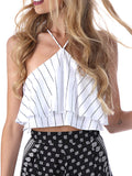 Sexy Sleeveless Strappy Halter Ruffled Top - WealFeel
