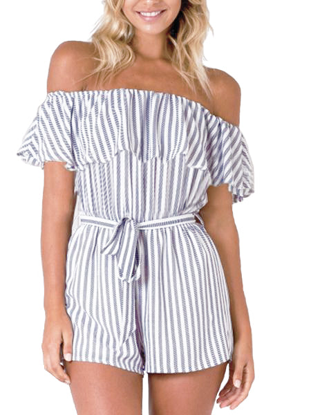Ruffle Cold Shoulder Stripe Romper - WealFeel