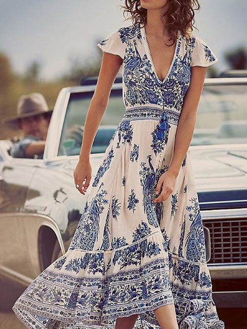 Vintage Floral Palace V-Neck Maxi Dress - WealFeel