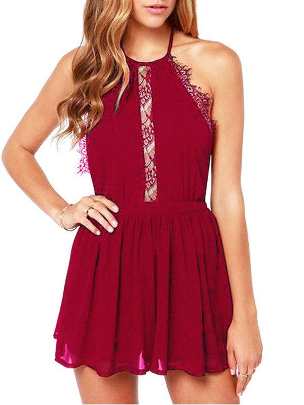 Halter Backless Lace Mini Dress - WealFeel