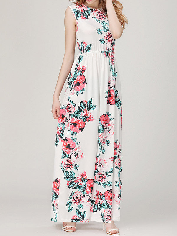 Fashion Sleeveless Floral Printed Maxi Dress - WealFeel