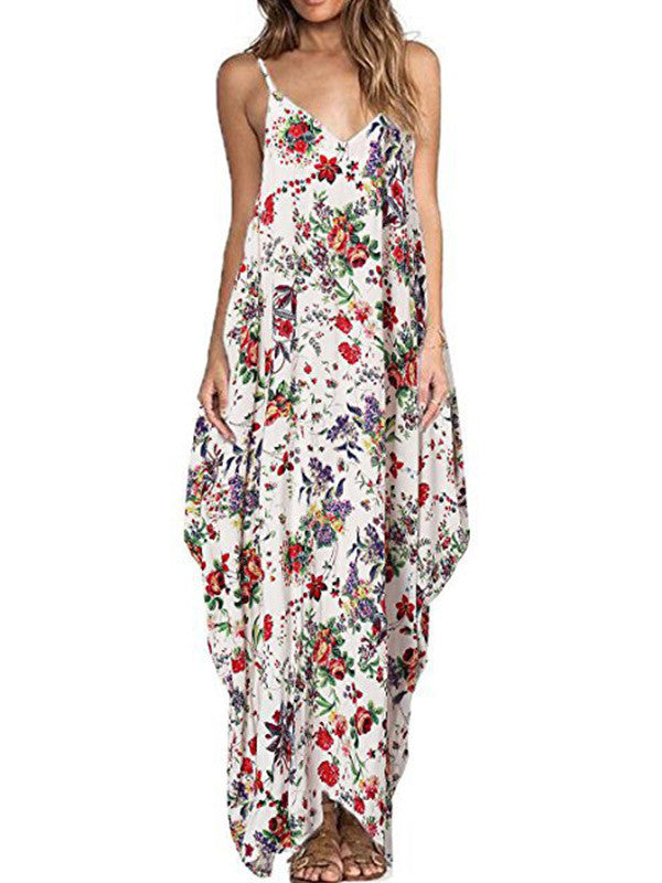 Women Floral Sling Loose Maxi Dress - WealFeel