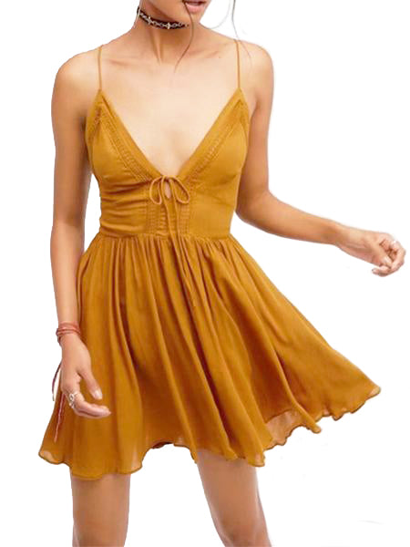 Sexy V Neck Sleeveless Mini Dress - WealFeel