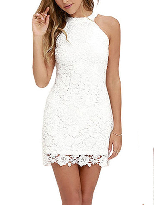 Summer Sleeveless Halter Lace Bodycon Mini Dress - WealFeel