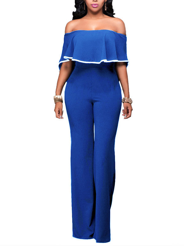 Women Off Shoulder High Waist Jumpsuits Rompers - WealFeel