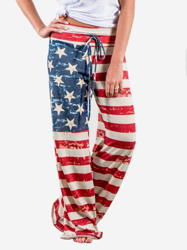 Women Wide Leg High American Flag Print Trousers - WealFeel