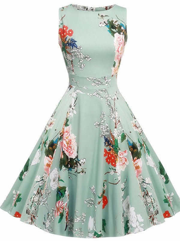 Sleeveless Vintage Floral Dress - WealFeel