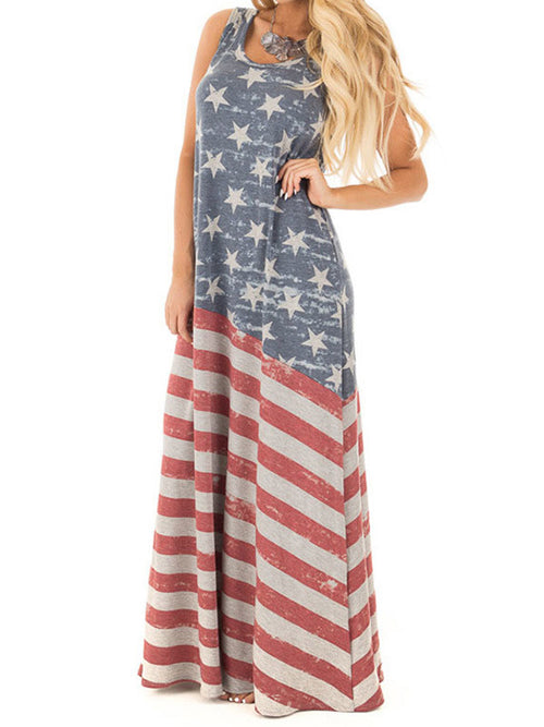 USA Flag Print Maxi Dress - WealFeel