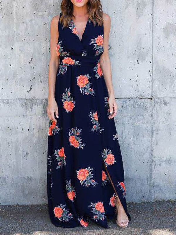 V-Neck Sleeveless Tie Front Floral Maxi Dress - WealFeel