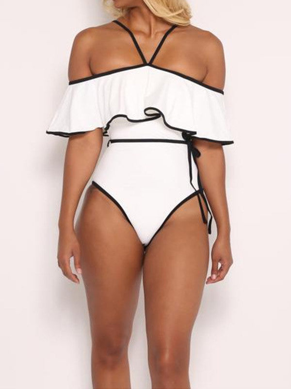 White Off the Shoulder One-Piece Flouncing Swimsuit - WealFeel