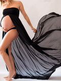 Off Shoulder Slit Front Long Dress For Pregnant Women - WealFeel