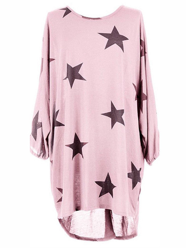 Women Star Print Loose Shirt Dress - WealFeel