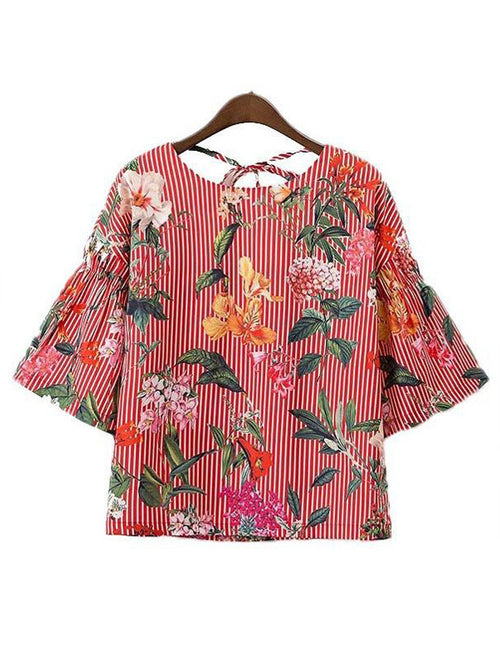 Women Back Tie Floral Top - WealFeel