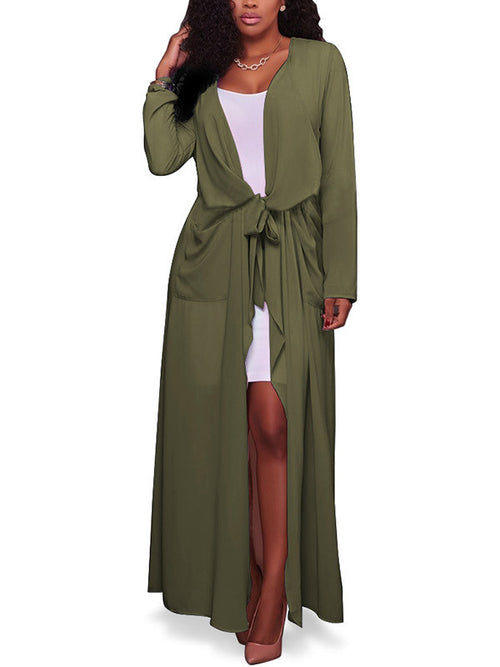 Women Solid Color Long Sleeve Maxi Cardigan - WealFeel