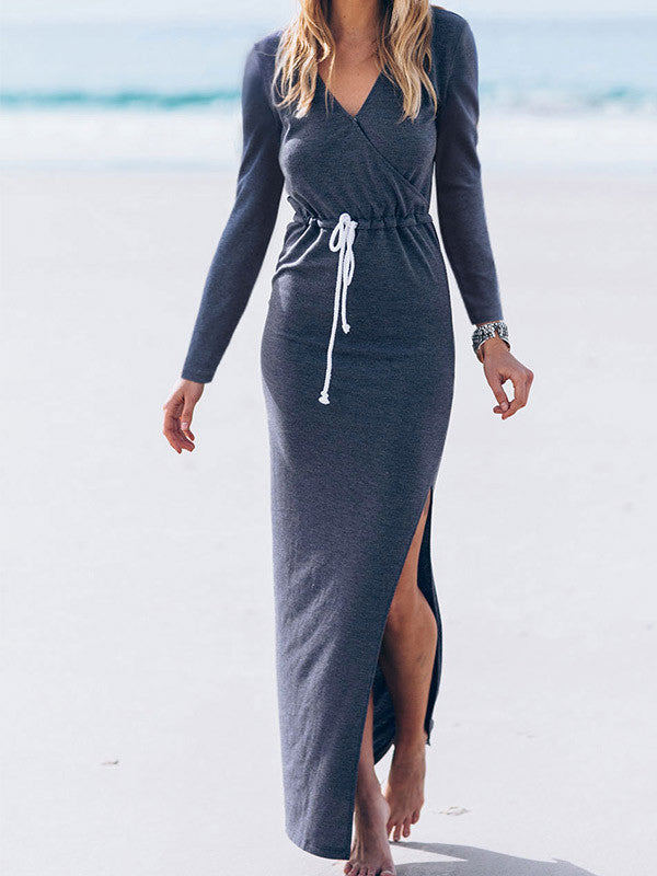 Women Long Sleeve Side Split Maxi Dress - WealFeel