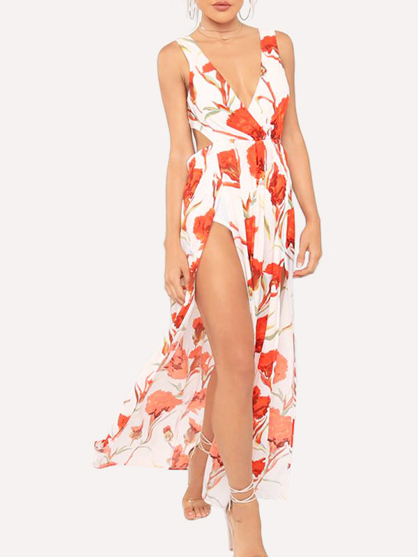 Women Floral Sleeveless Backless Side Split Maxi Dress - WealFeel