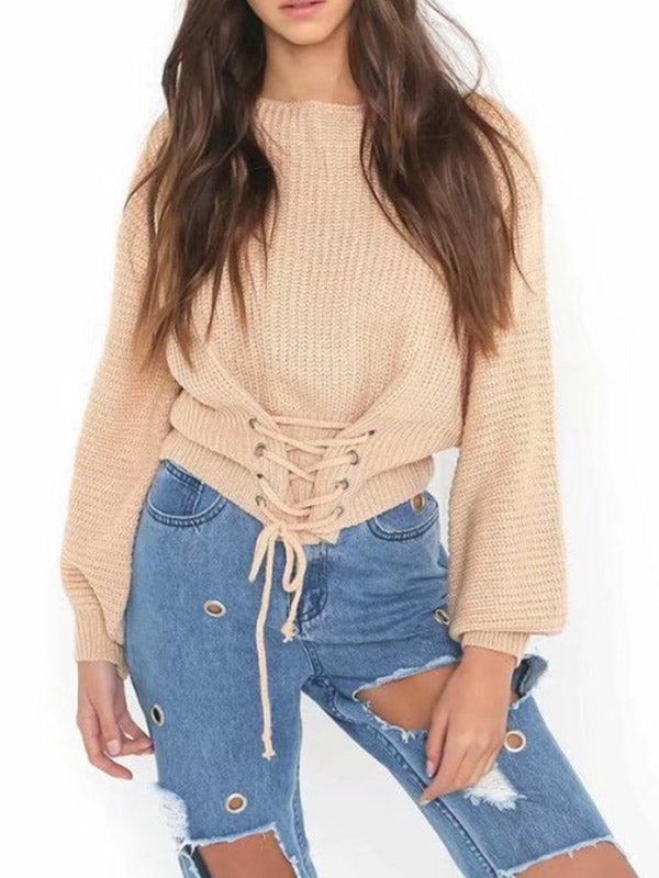 Women's Lace Up Sweater Tops - WealFeel