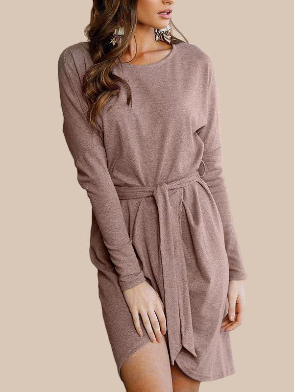 Women Long Sleeve Wrap Mini Dress - WealFeel