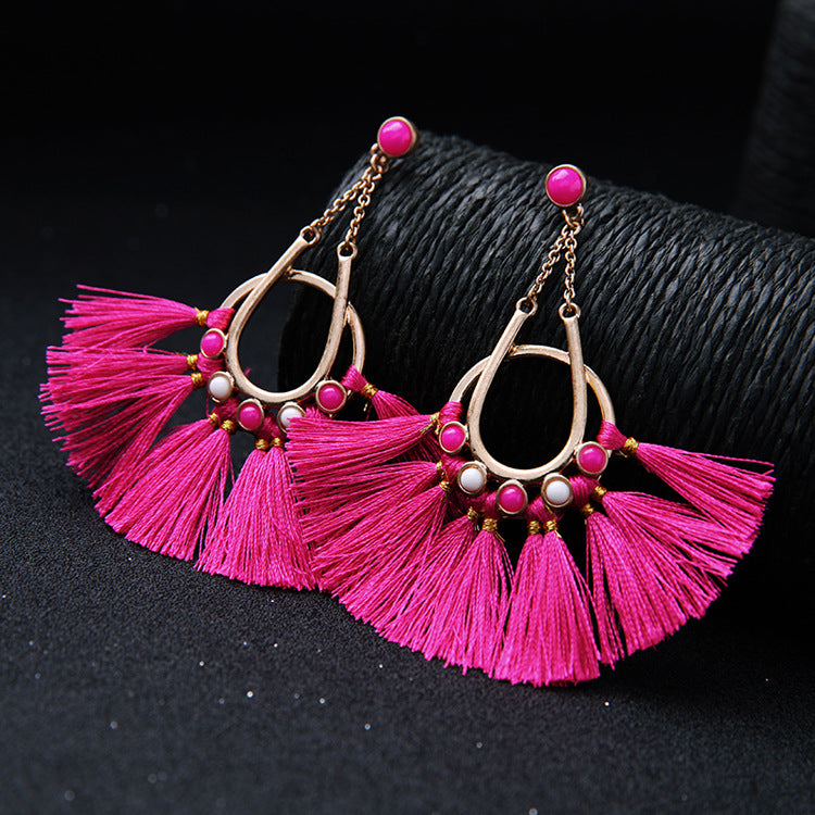 Personality Exaggerated Tassel Long Drop Earrings - WealFeel