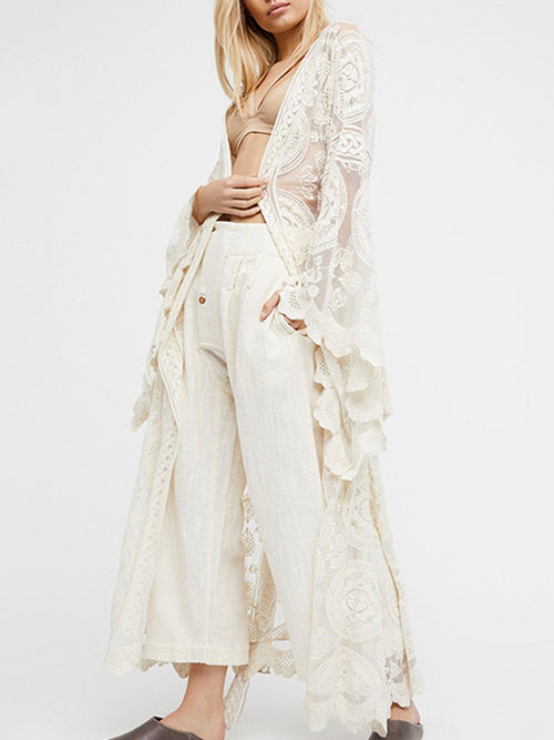 Sleeves White Lace Cover Up - WealFeel