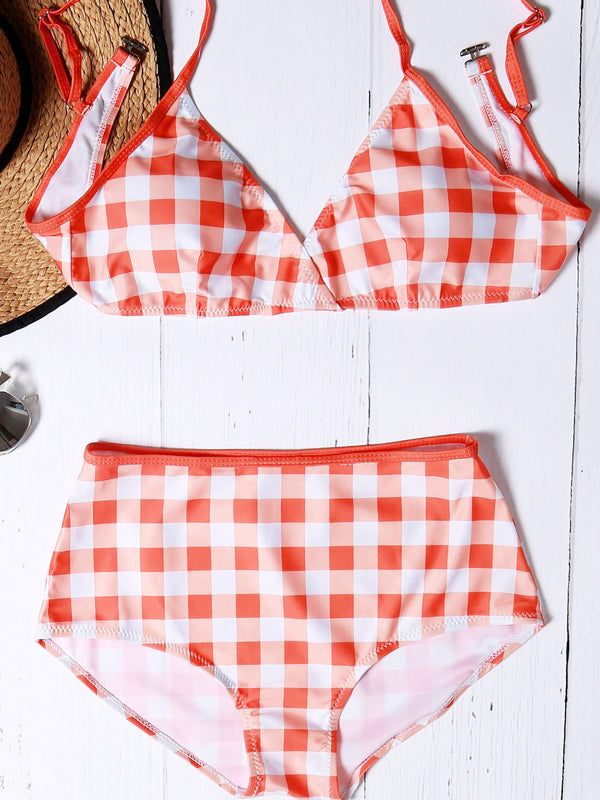 Pattern Plaid High-waisted Bikini Sets - WealFeel