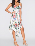 Irregular Sleeveless Harness Printed Dress - WealFeel
