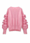 Mohair Ruffled Sleeve Short Sweater - WealFeel