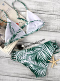 Leaf Print lace-up Swimwear Sets - WealFeel