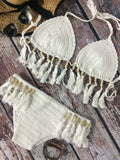 Sexy Pure Color Crochet Tassels Bikini Sets - WealFeel