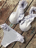 White Ruffle Deep V-neck Bikini Sets - WealFeel