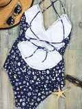 Floral Cross Back Beach One-piece Swimsuit - WealFeel