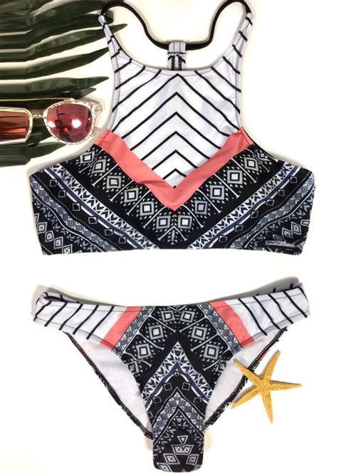Tribal Printed Halter Two Piece Bikini Sets - WealFeel