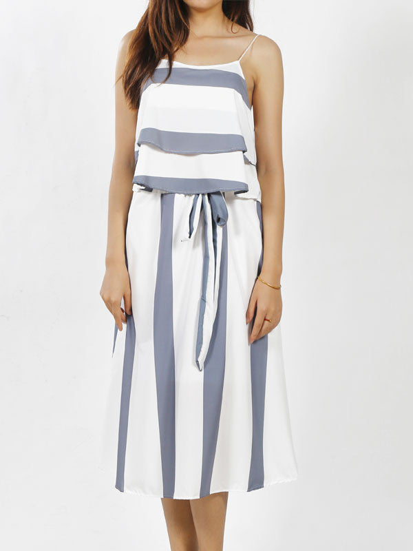 2 Pieces Ruffle Top Stripe Dress - WealFeel